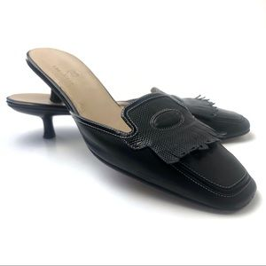 Cole Haan Square Toed Kitten Heel Loafer Mules